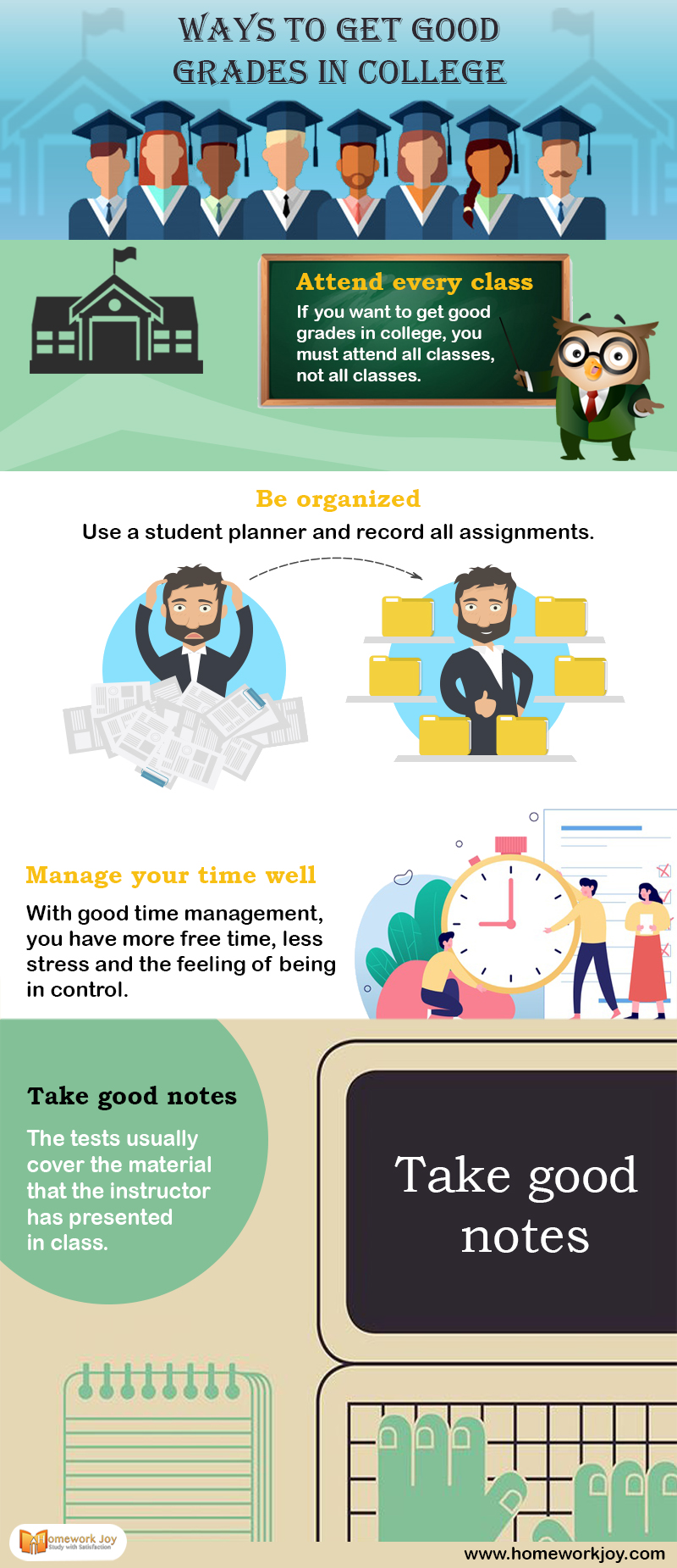 Ways to get Good Grades in College Infographics